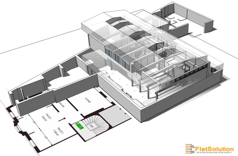 Modélisation complète - Intérieure et extérieure - d'un grand espace de réception