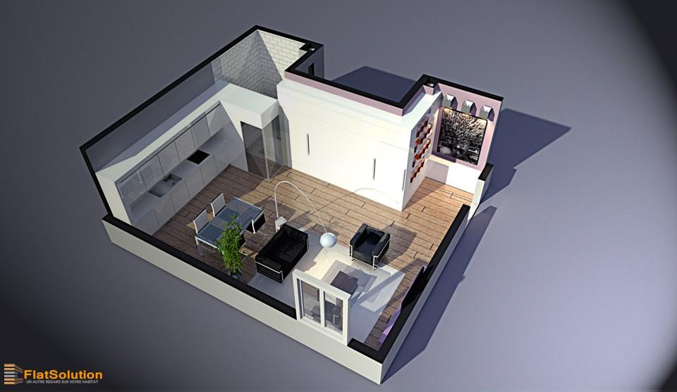 Visualisation 3d et mise en valeur flatsolution for Un appartement atypique
