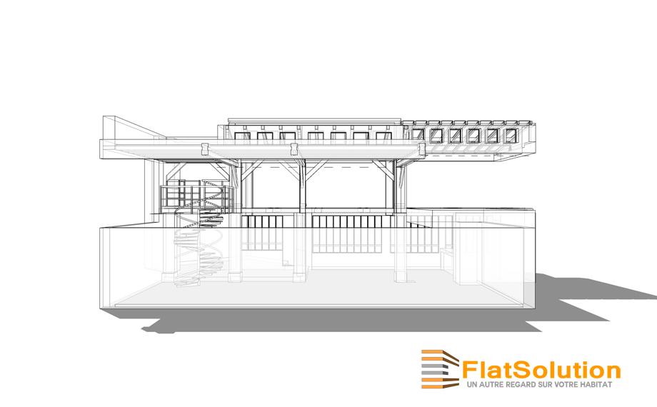 Espace de réception : vue de coté sans le 1er étage