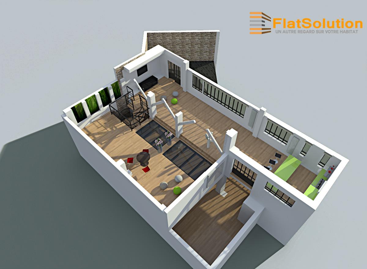 Espace de réception : rendu 3d simple