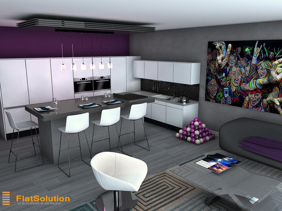 Visite 360 d 39 un appartement flatsolution for Maquette cuisine 3d