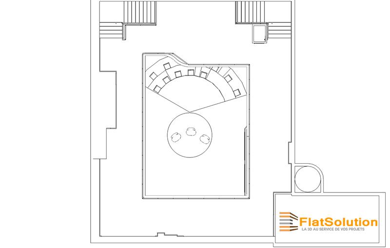 Modélisation d'un espace de réception et placement du plateau TV - Vue de dessus avec mezzanine et plateau TV