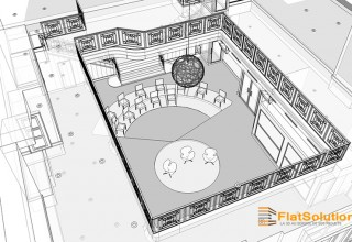 3 - Espace de réception - Vue de trois-quart - Transparence