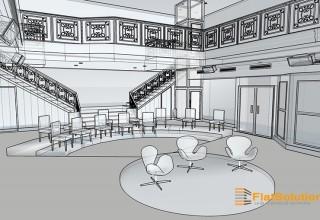 4 - Espace de réception - Vue en transparence