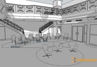 5 - Espace de réception - Vue simple avec ombres