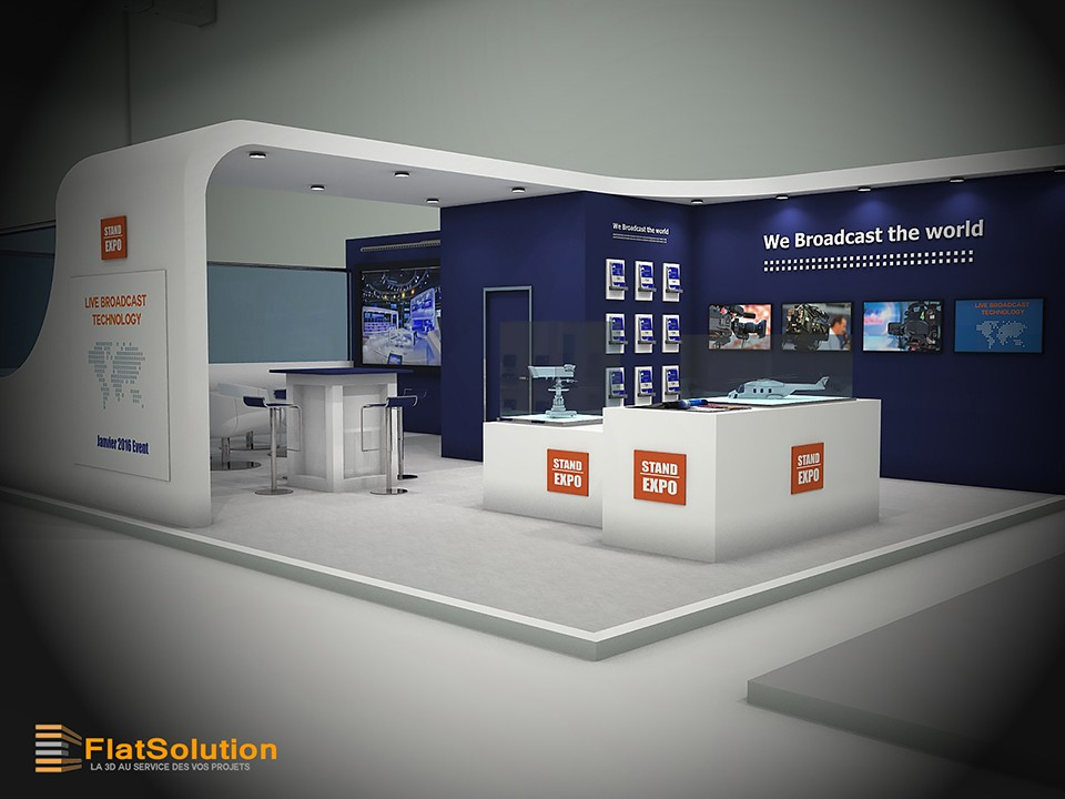 Conception de stand 3d pour un salon for Conception salon 3d