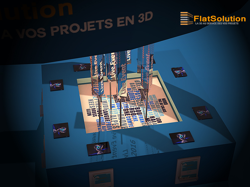 Conception de stand 3d pour un salon 2 me partie for Conception salon 3d
