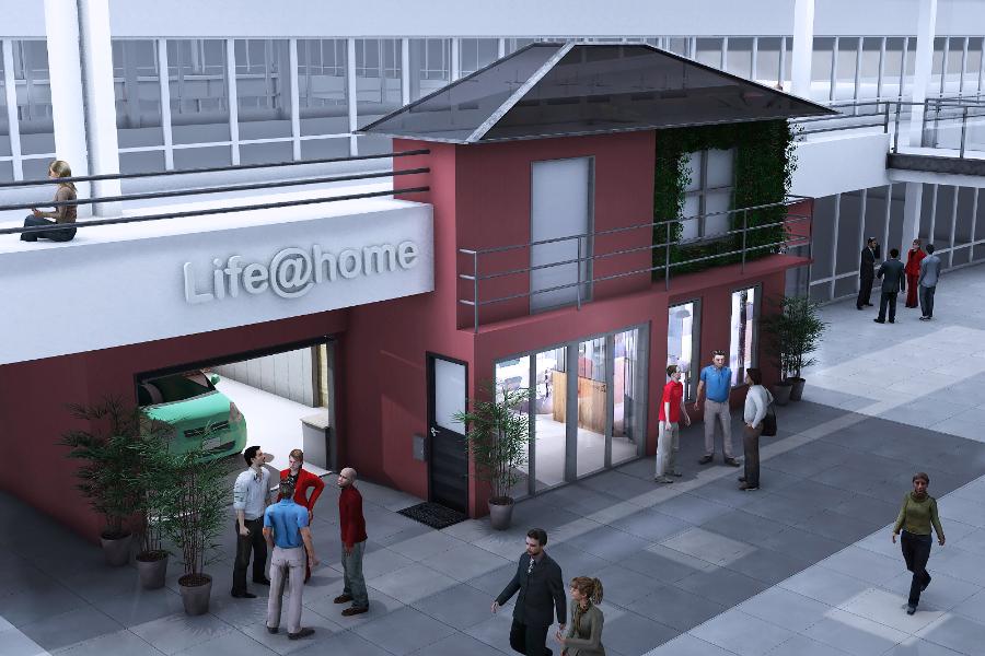 Façade matte, balcon, étage végétalisé