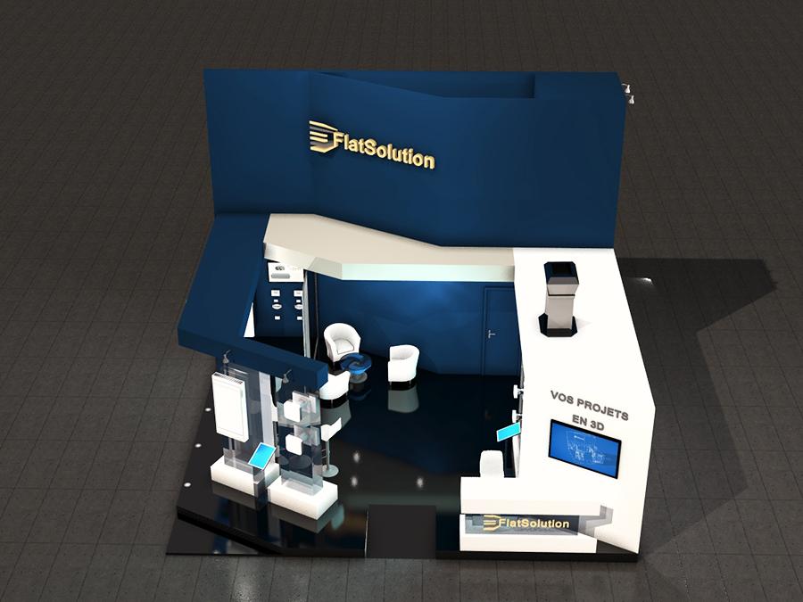 Stand 3D - design bleu
