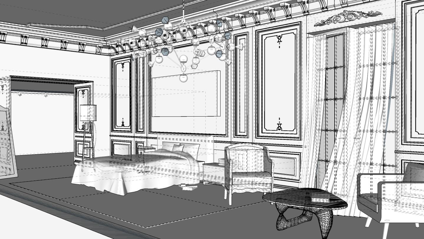 Espace brut avec mobilier et détails